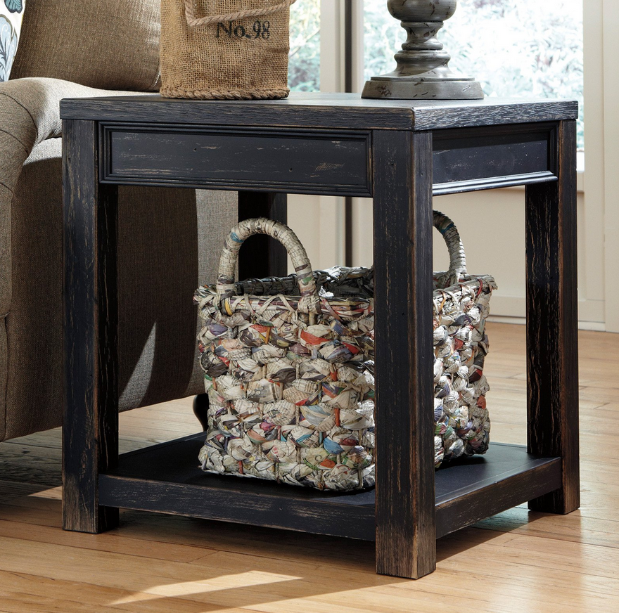 Distressed Black Square End Table - Christian's Table