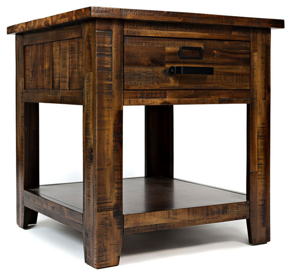 Acacia Wood Distressed End Table - Christian's Table