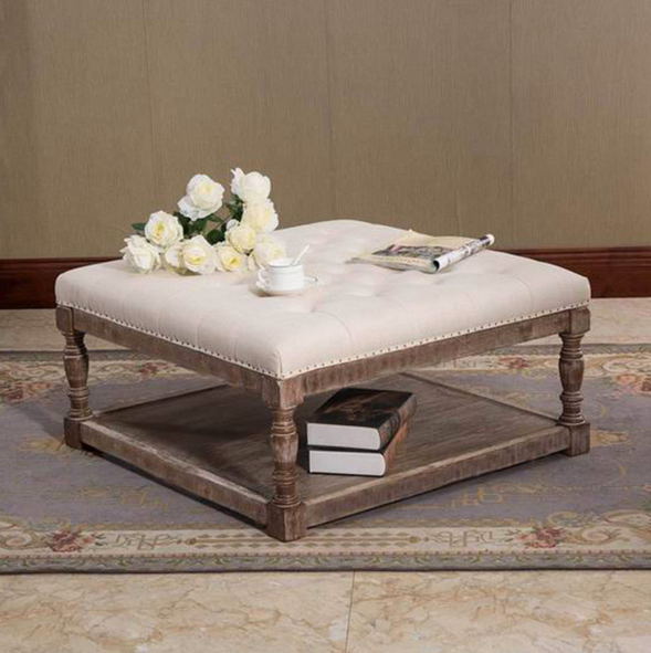 Tufted Fabric Coffee Table Ottoman - Christian's Table