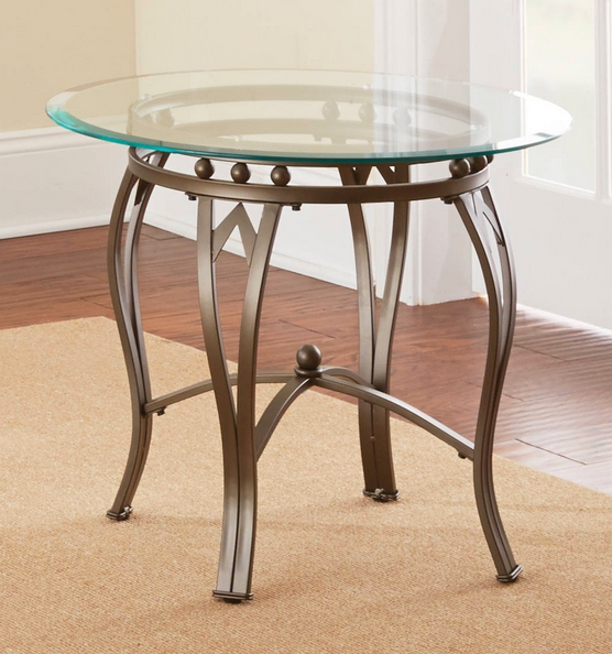 Round Glass And Metal End Table - Christian's Table