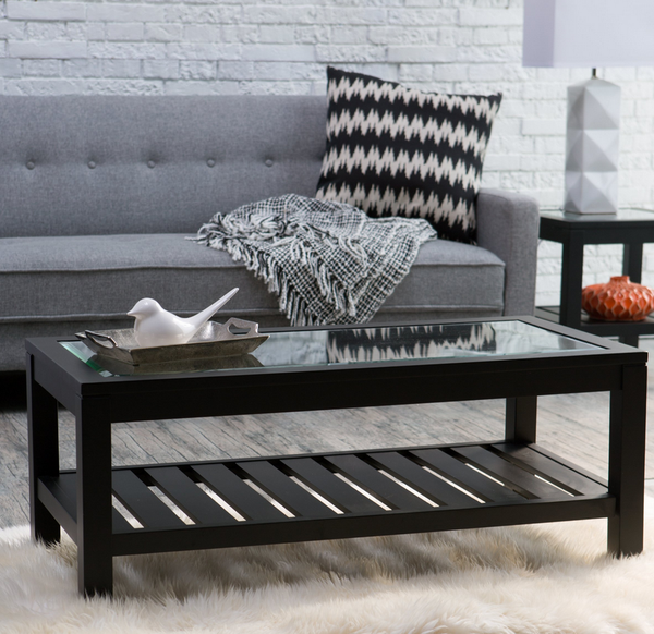 Black Glass Top Coffee Table - Christian's Table