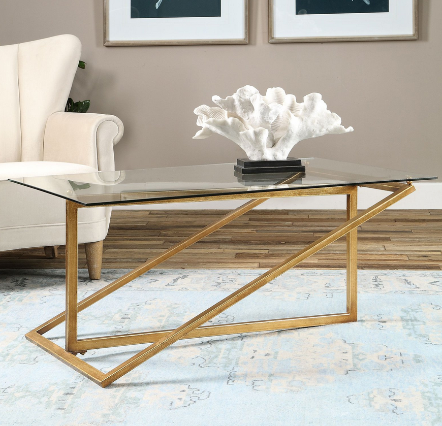Beautiful Antique Gold Leaf Glass Top Coffee Table – Christian's Table HW08