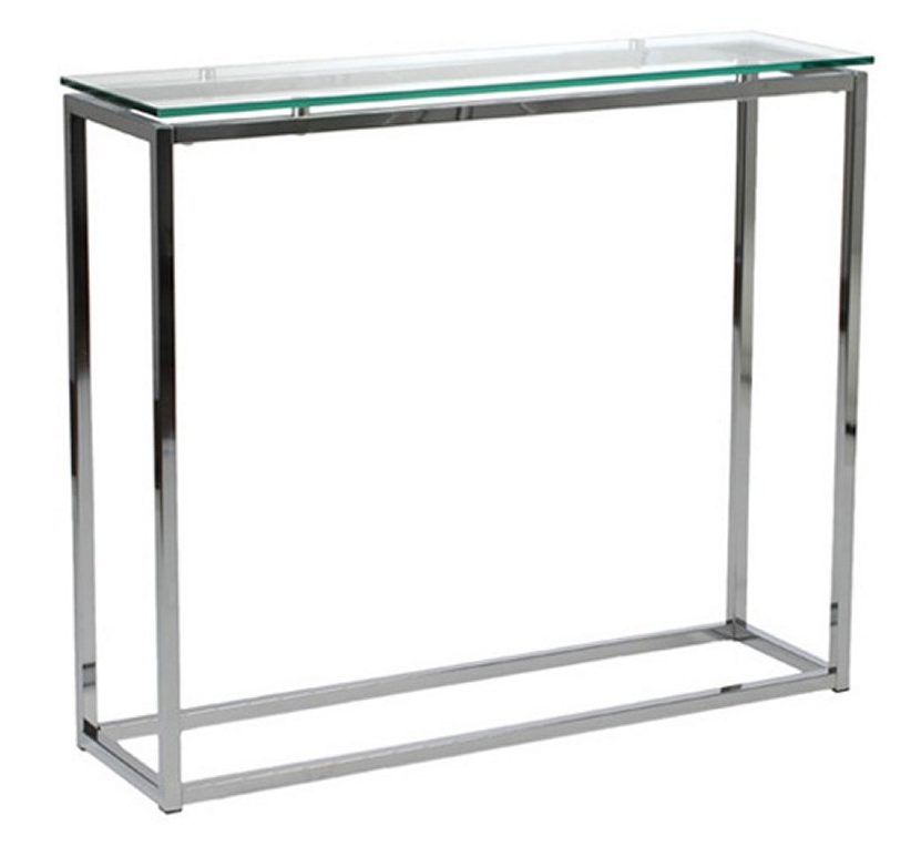 Chrome Base Glass Top Console Table - Christian's Table