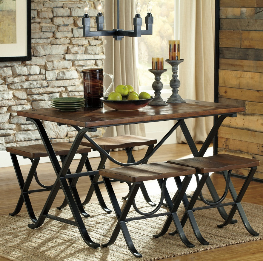 Industrial 5 Piece Dining Table Set