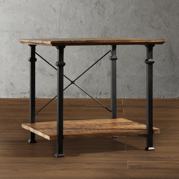 Industrial Square Wood End Table - Christian's Table