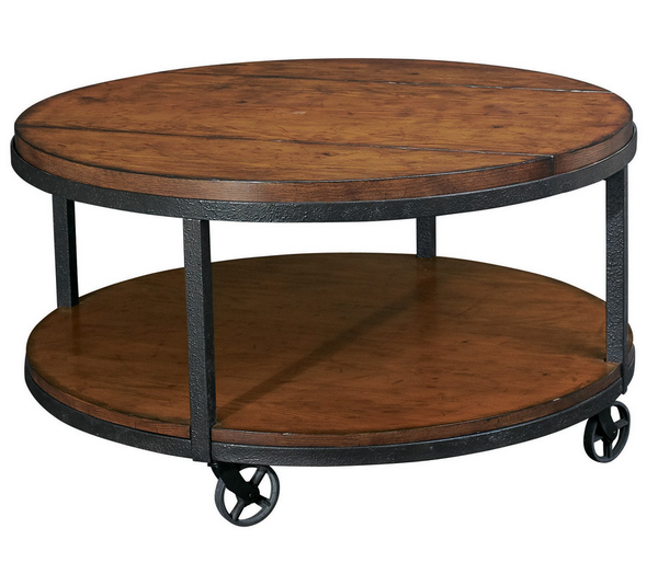 Castered Industrial Round Coffee Table - Christian's Table