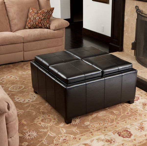 Leather Coffee Table Storage Ottoman - Christian's Table