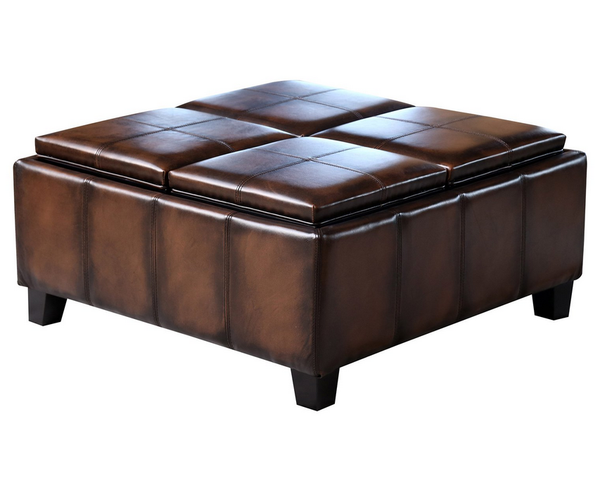 Brown Leather Square Coffee Table Ottoman - Christian's Table