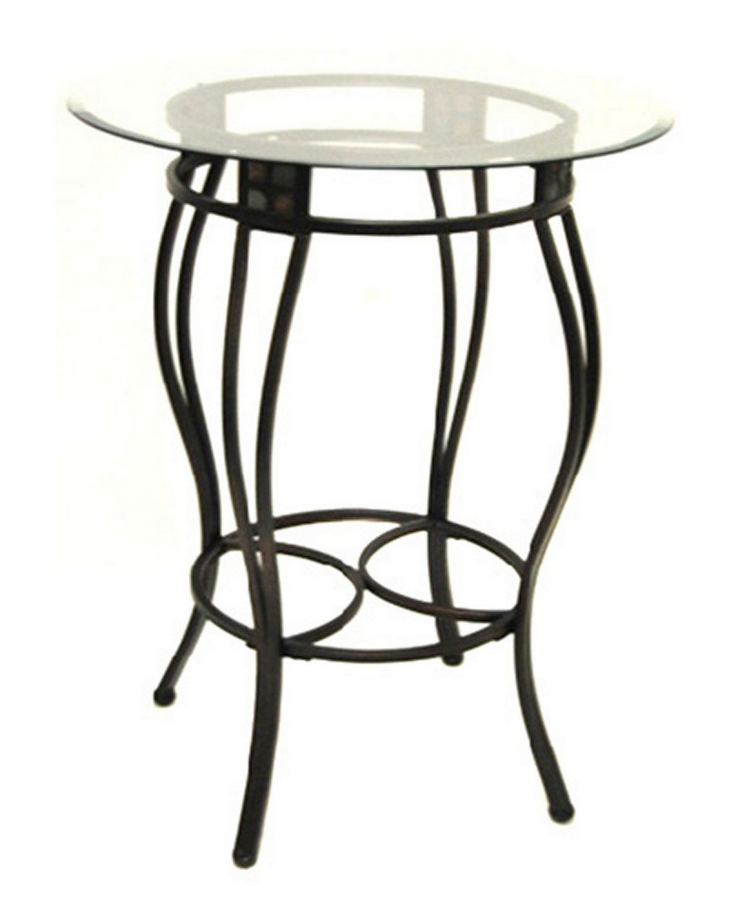 Counter Height Metal Pub Table With Glass Top   Christianu0027s Table