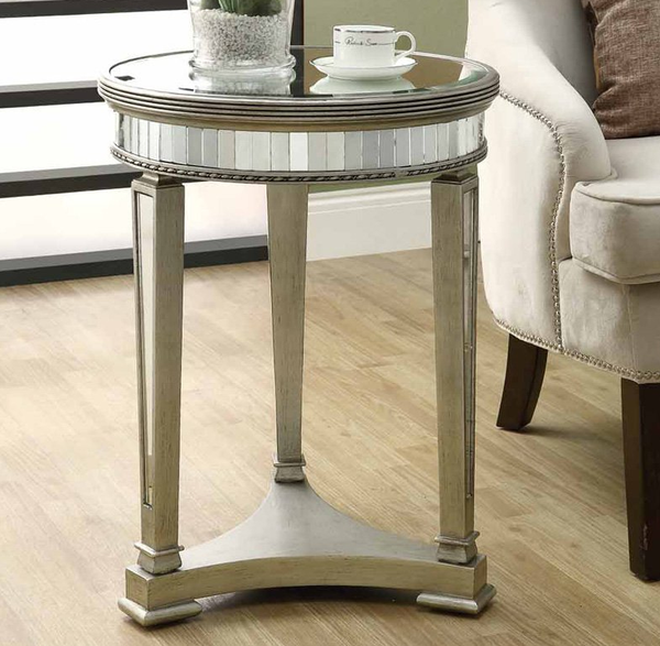 Mirrored Accent Table - Round - Christian's Table