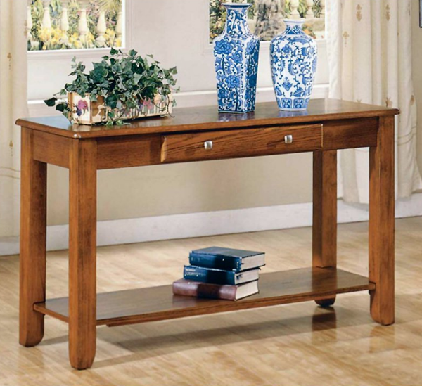 Oak Finished Console Table - Christian's Table