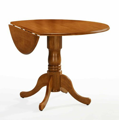 Drop Leaf Round Pedestal Dining Table - 4 Available Finishes - Christian's Table