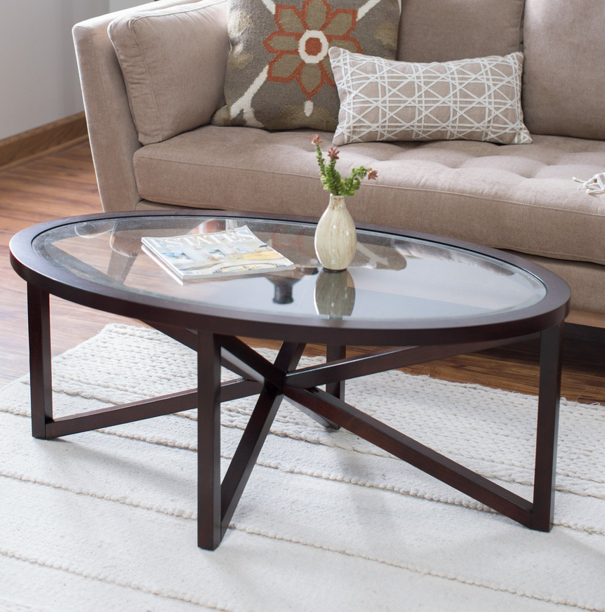 Glass Top Oval Coffee Table - Christian's Table
