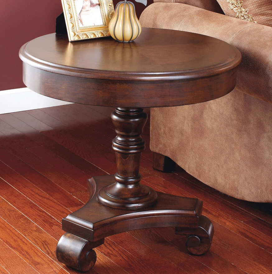 Pedestal Round End Table - Brown - Christian's Table