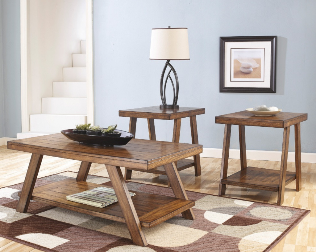 Plank Top Coffee Table Set