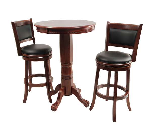 Round Pub Table Set - Dark Cherry - Christian's Table