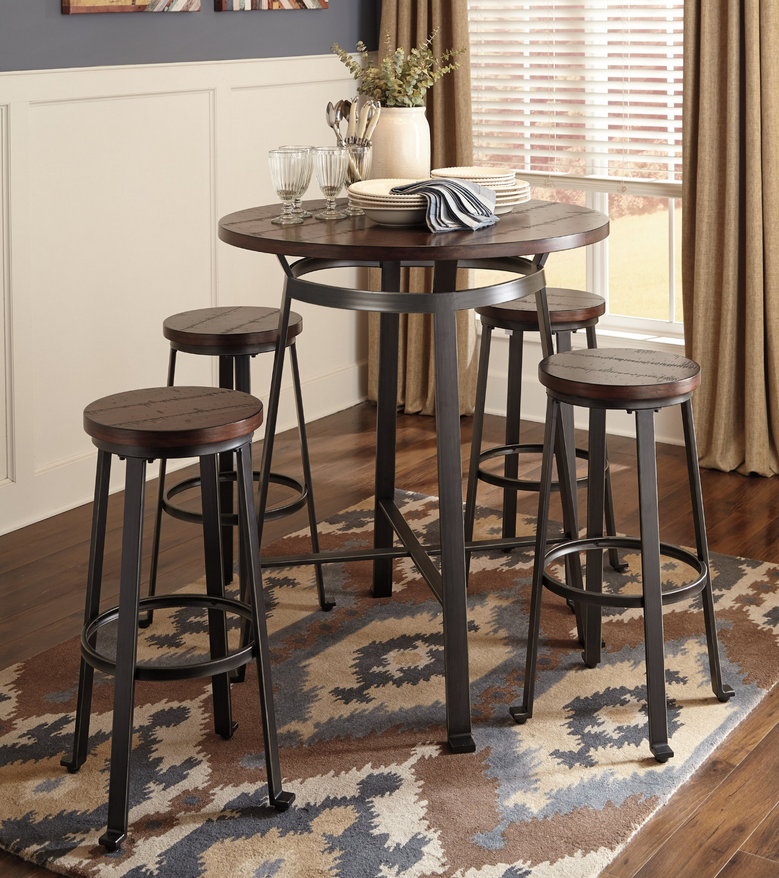 Wood Plank 5 Piece Pub Table Set - Christian's Table