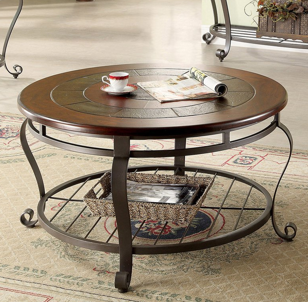 Round Coffee Table - Wooden Slate Top Metal Base - Christian's Table