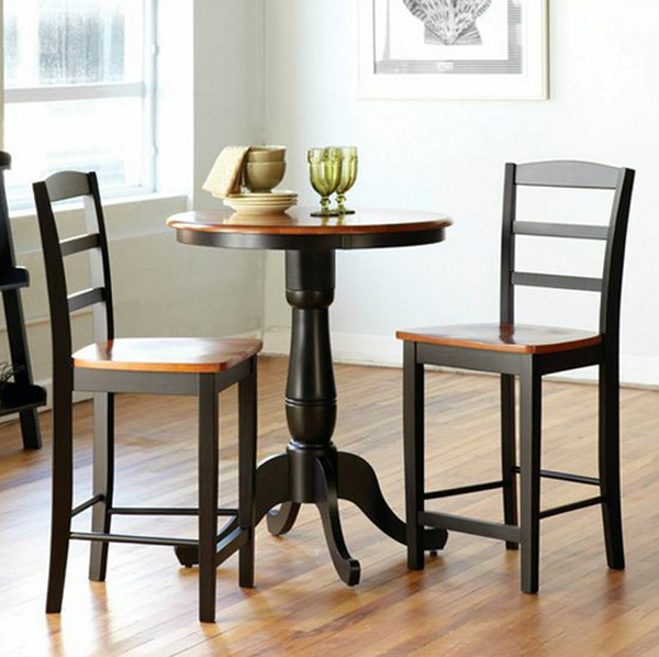 3 Piece Round Counter Height Dining Table Set