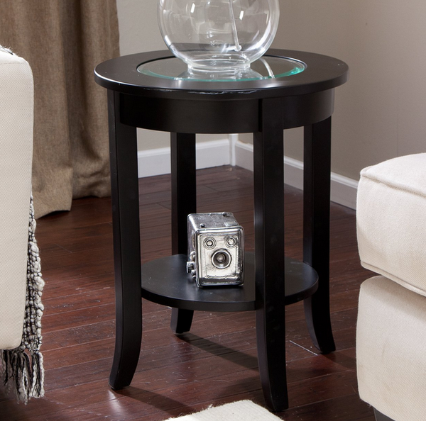 Round End Table - Glass Top Dark Espresso - Christian's Table
