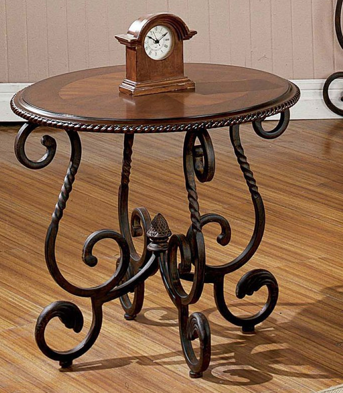 Antiqued Round End Table