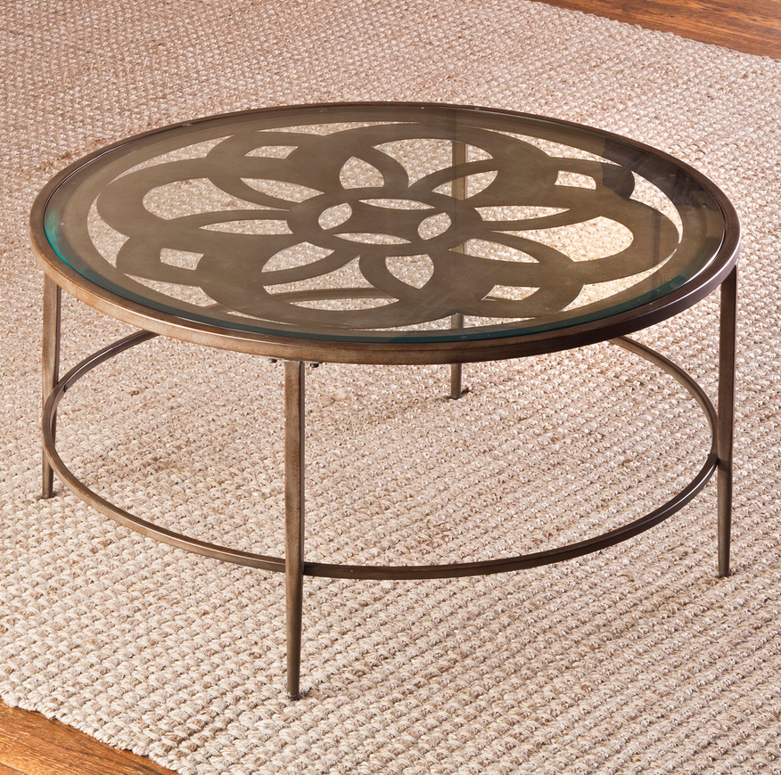 Floral Design Metal Round Glass Top Coffee Table - Christian's Table