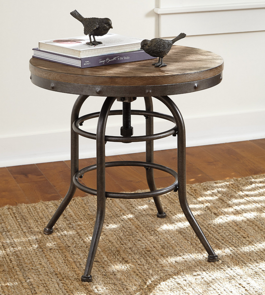 Blackened Steel Industrial End Table - Christian's Table