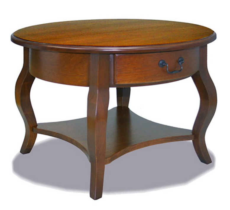 Round Wood Coffee Table.Brown Cherry Round Wood Coffee Table