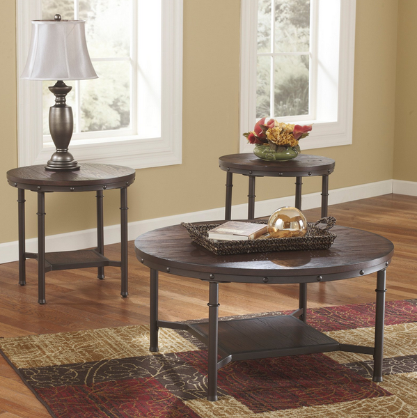 Industrial Rustic Round Coffee Table Set - 3 Piece - Christian's Table