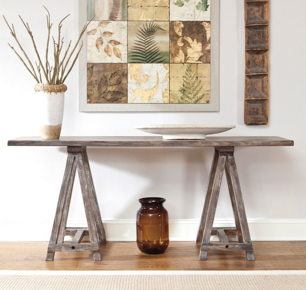 Rustic Accents Rectangular Brown Console Table