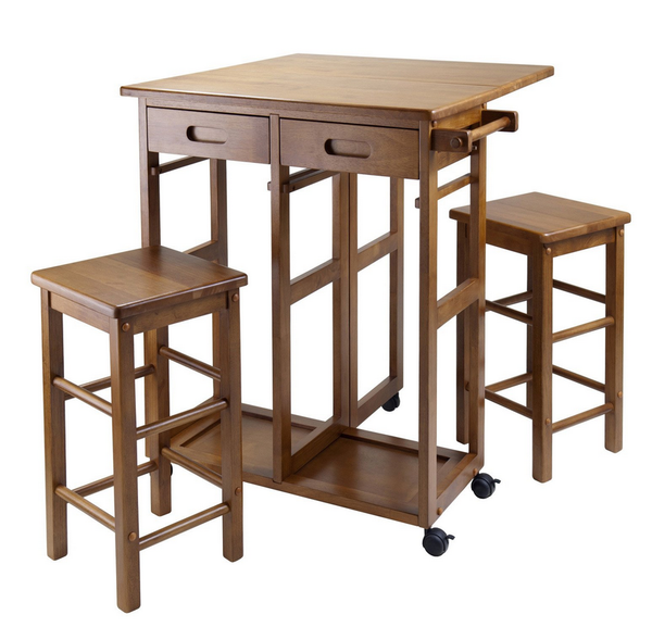 Small Drop Leaf Kitchen Table Set 3 Piece - Christian's Table