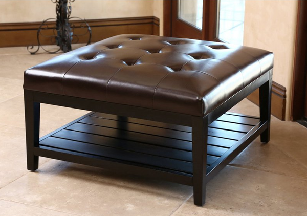 Tufted Leather Square Coffee Table Foot Ottoman - Christian's Table