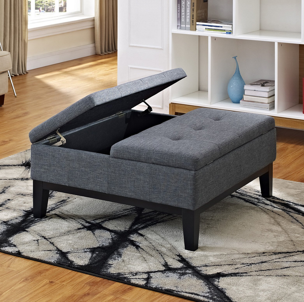 Gray Linen Coffee Table Storage Ottoman - Christian's Table