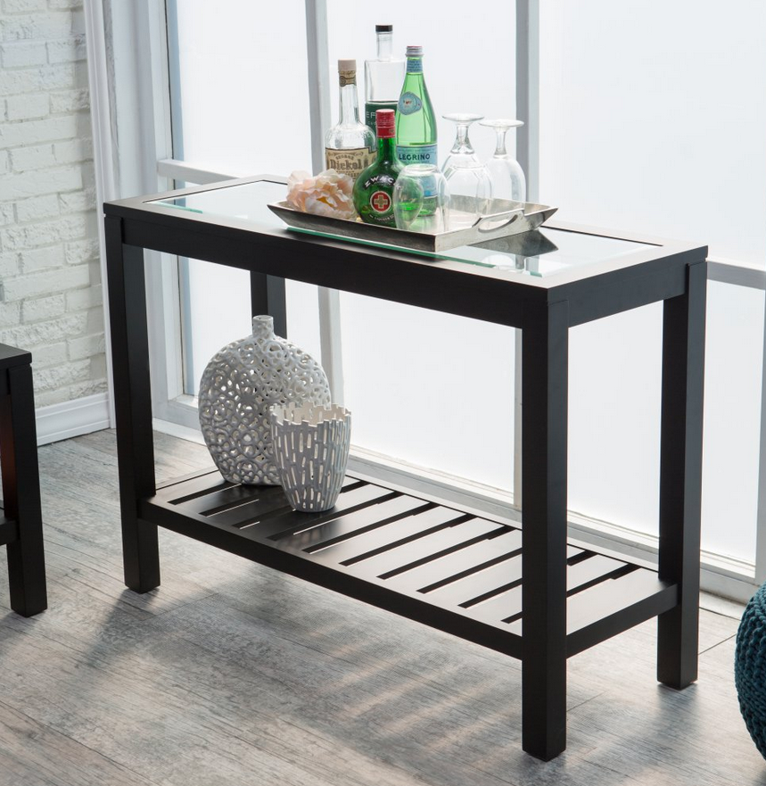 Black Console Table Slat Storage Shelf - Christian's Table