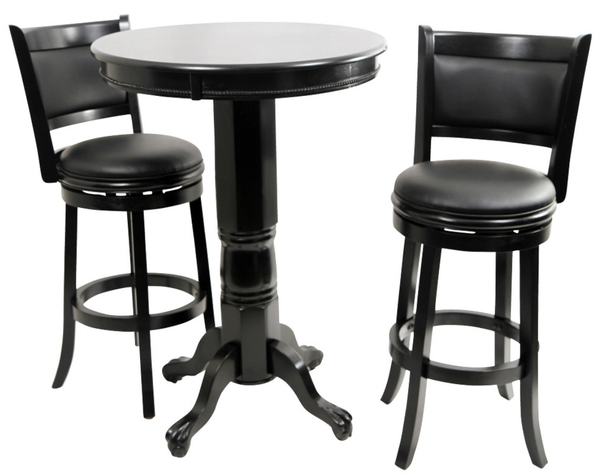 Augusta 3 Piece Pub Table Set - Black - Christian's Table