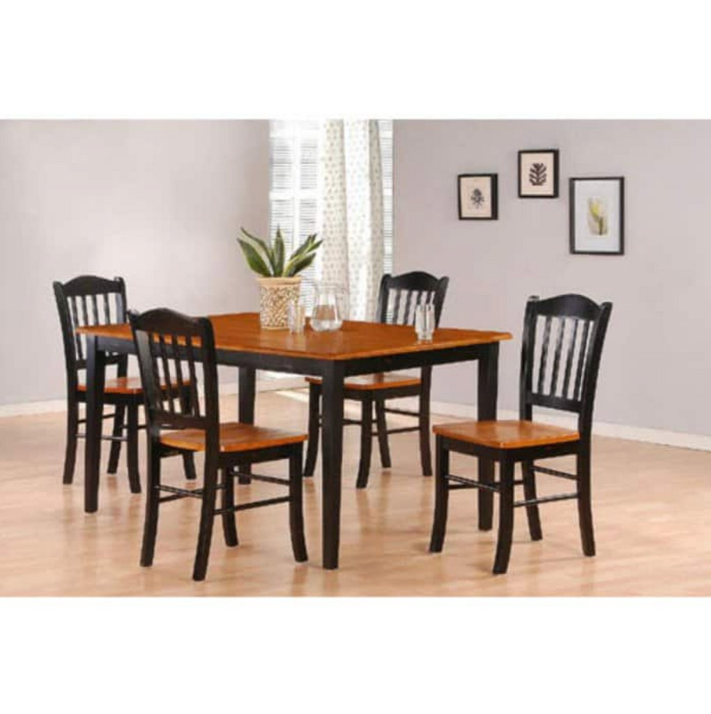 black oak dining table set