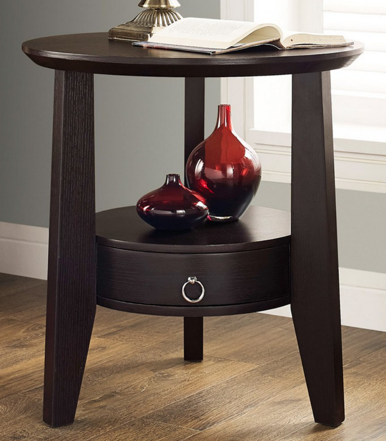 brown small round end table