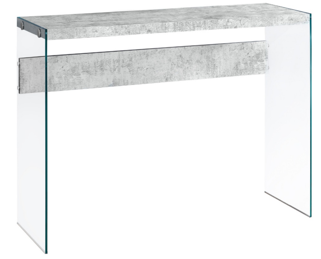 Gray Cement and Tempered Glass Console Table