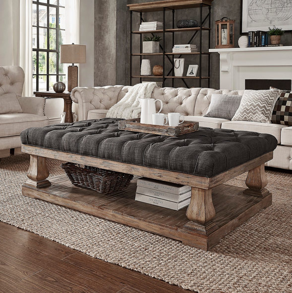 Dark Grey Cushioned Coffee Table Bench