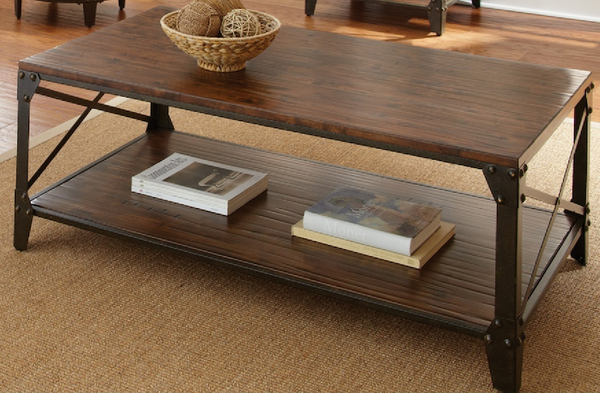 Distressed Tobacco Wood Coffee Table - Christian's Table