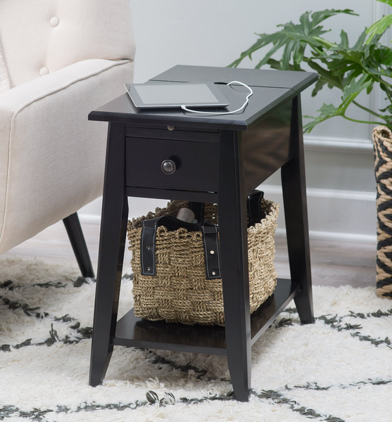 black end table with usb ports and power outlets table