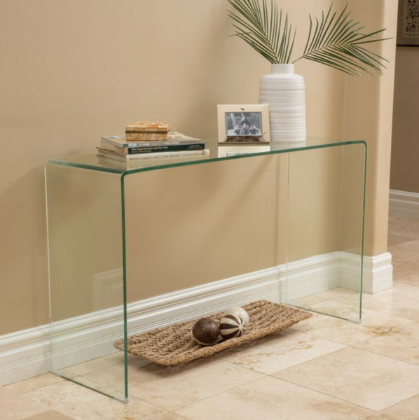 Bent Glass Clear Console Table - Christian's Table