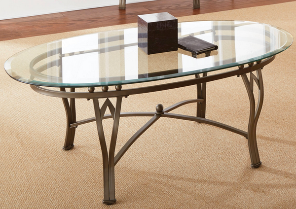 Coffee Table Oval Glass Top