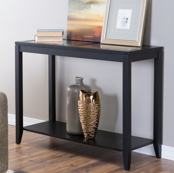 Glass Top Black Console Table