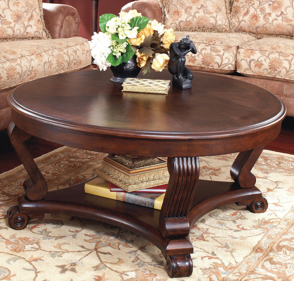 Large Round Coffee Table Wood Top - Christian's Table