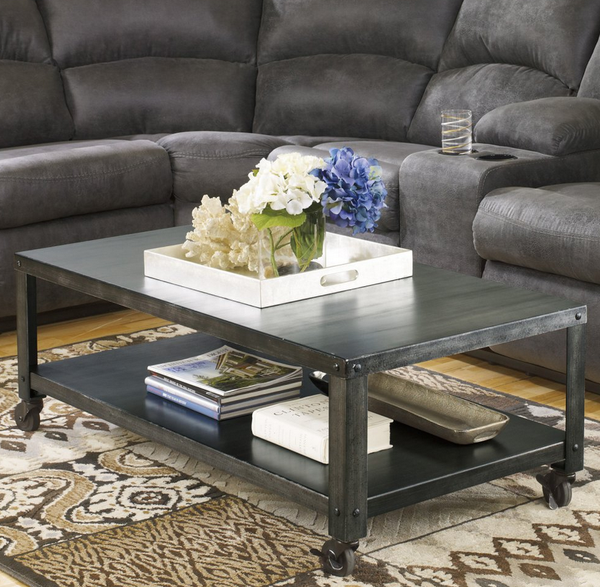 Metal Coffee Table - Gray Industrial Style - Christian's Table