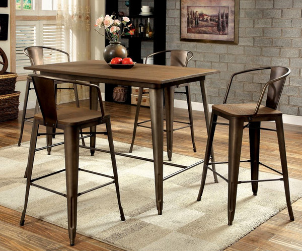 Wood And Metal Counter Height Dining Set