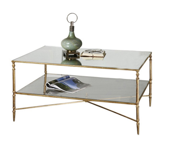 Mirror Top Coffee Table - Antique Gold - Christian's Table