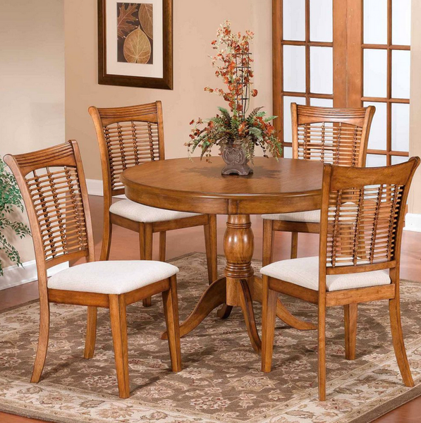 Pedestal 5 Piece Round Dining Set - Christian's Table