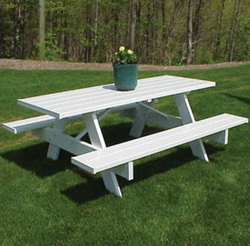 Plastic Picnic Table - White PVC Vinyl - Christian's Table